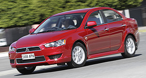 Mitsubishi Lancer Lancer lot: Mitsubishi's new Lancer LX has luxury touches such as leather heater seats in a $23,990 package.