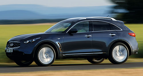 Infiniti 2012 FX 50On the move: The FX50 mid-sized luxury SUV will headline Infiniti's attack on the Australian market from August this year.