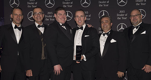 General News Events Winning feeling: Barbagallo Ferrari sales manager Tony Sanfilippo (right) and service manager Emanuele Pavone with their awards from the third annual Ferrari Australasia Dealer of the Year program.