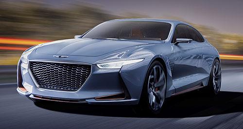 Genesis 2017 G70 Start spreading the news: The Genesis 'New York Concept' previews the brand's G70 mid-size prestige sedan that is confirmed for RHD and will be launched in Australia next year.