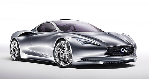 Infiniti 2014 EV sedan Electric future: Infiniti will produce an EV sedan based on the Nissan Leaf in the next few years, but the production future of the Emerg-e (left) is less clear.