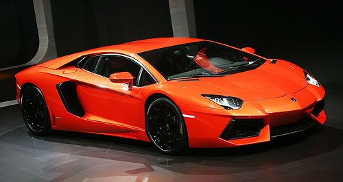 Lamborghini Aventador LP700-4Three-quarter shot: Someone with a lazy three-quarters of a million dollars placed an order for Lamborghini's latest supercar, the Aventador LP700-4, at the motor show.