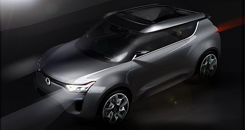 SsangYong 2013 XIV-2 Sketched: The three-door SsangYong XIV-2 crossover concept will feature a retractable soft-top roof.