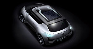 SsangYong 2014 e-XIV Time in the sun: The SsangYong e-XIV concept features solar panels in the roof to charge supplementary components.
