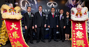 Infiniti  Bound for Hong Kong: Nissan and Infiniti executives Takeshi Nakajima, Andy Palmer, Carlos Ghosn, Shiro Nakamura and Polly Chiu at the opening of the new Infiniti HQ in Hong Kong.