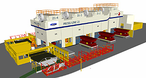Ford  Leveraged: Ford Australia's 'wide-body' Press Line 21, part of a $55 million upgrade at the Geelong stamping plant, completed in early 2008.