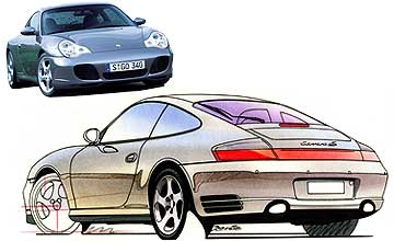 October 95-November 97 Porsche 911 Carrera 4S coupe Rear shot