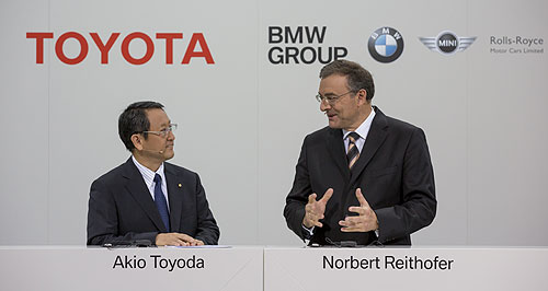 BMW  It's a deal: Toyota president Akio Toyoda and BMW Group chairman Norbert Reithofer announce the new agreement.