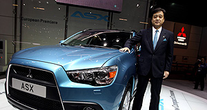 Mitsubishi  Mitsubishi's next stock exchange: MMC president Osamu Masuko with the company's next all-new model, the ASX compact crossover due here in July.