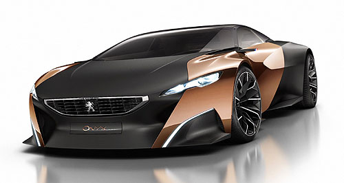 Peugeot 2015 Onyx Ready to pounce: Typically feline Peugeot design moves a step further with the Onyx supercar concept that weighs just 1100kg but has a diesel hybrid drivetrain generating a whopping 507kW.