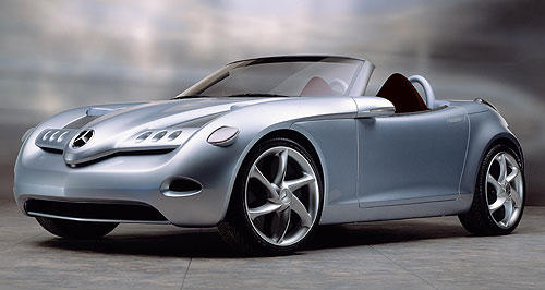 Mercedes-Benz 2013 SLA Blueprint: The production SLA will differ from the Vision SLA Roadster Concept (left) that was one of the stars of the 2000 North American International Auto Show, but it will adopt similar compact proportions.