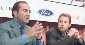 Ford  Grim news: Ford president and CEO Jac Nasser and company chairman William Clay Ford jr announce the recall.
