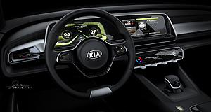 Kia 2017 Telluride High ride: The Telluride concept's dash is made from 3D-printed components, according to Kia.