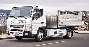Fuso 2017 eCanter Pack mule: Fuso's electric powertrain technology trialled in this engineering mule is set to power a new all-electric delivery truck, eCanter, from next year.