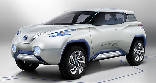 Nissan 2014 Terra Terra-fying: The hydrogen fuel cell-powered Terra SUV concept uses technology from the Leaf EV to power its front wheels.