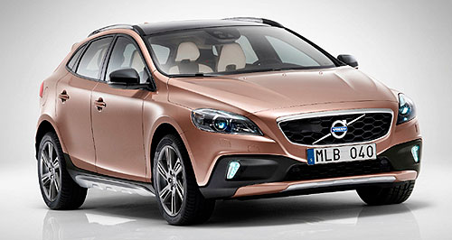 Volvo 2013 V40 Cross CountryAll four one: Only the flagship T5 variant of Volvo's V40 Cross Country will get all-wheel-drive and hill descent control to back up its beefy body cladding and increased ground clearance.