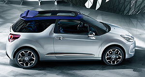 Citroen 2013 DS3 CabrioSoft in the centre: Citroen has opted for a Fiat 500C style retractable fabric roof that retains the hatchback's side portions, resulting in a smaller weight gain than traditional convertibles.