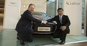 Aston Martin 2018 RapidE Charging ahead: Aston Martin CEO Andy Palmer and LeEco's See Plan co-founder and vice chairman Ding Lei seal a deal that will produce the British car-maker's first electric vehicle.