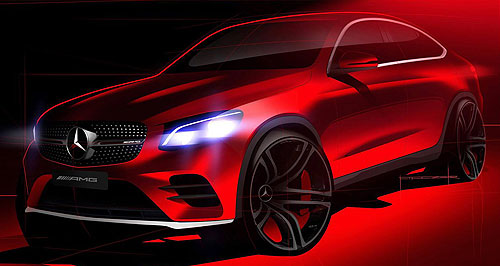 Mercedes-Benz 2016 GLC Coupe AMG whizz: A single teaser image is hinting that a more performance-focused variant will join the GLC-Coupe range, following its official unveiling this week.