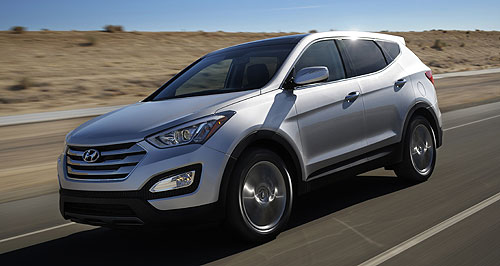 Hyundai 2012 Santa Fe Gen three:The new Hyundai Santa Fe will be launched next month exclusively with four-cylinder engines and all-wheel-drive.
