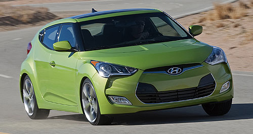 Hyundai  Cool coupe: Veloster will hit Australian roads by January, but could also be available with turbo power next year.