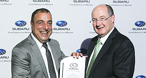 General News Events Exceptional job: Eastern Subaru dealer principal Michael LaFerlita (left) with Subaru Australia managing director Nick Senior.