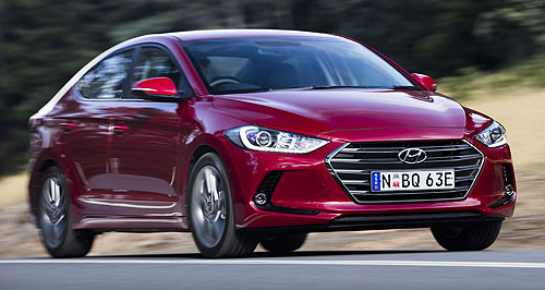 Hyundai 2016 Elantra SRTurbo boost: The just-launched Elantra (left) will get a sporty lift in the shape of the yet-to-be-revealed SR turbo later this year.