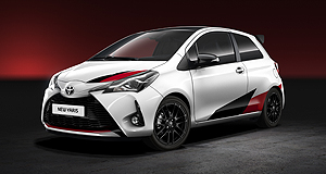 Toyota 2017 Yaris Paris in a Yaris: Slight styling changes will make their way to the updated Yaris city car range, but motoring enthusiasts around the world are waiting with bated breath for more information about a rally-bred, range-topping hot hatch version.