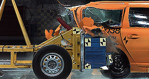 Volvo  Cop that: Volvo puts a plug-in hybrid V70 wagon through a rear-end sled crash test in its research into electric vehicle safety.