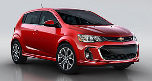 Holden 2016 Barina Familiar face: The mid-life refresh for Chevrolet's Sonic light car reflects the brand's latest styling direction, providing it with a family resemblance to all-new models such as the second-generation Cruze small car and all-electric Bolt hatchback.