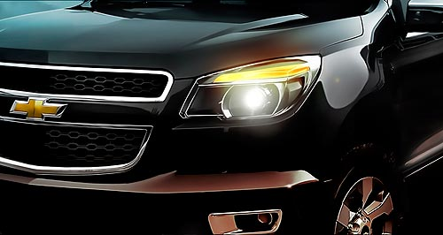 Holden 2012 Colorado Teaser: This photo gives a glimpse of the next GM Colorado, with local versions getting the Holden grille in place of Chevrolet's bow tie.