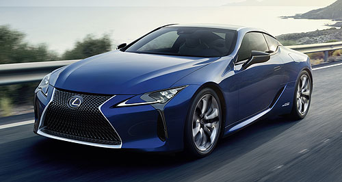 Lexus 2017 LC 500hAll four it: Lexus' LC500h luxury coupe uses a highly unusual multi-speed transmission bolted to the back of its hybrid powertrain for more performance without adding overall weight.