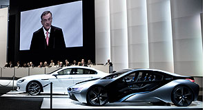 BMW  Electric future: BMW chairman Norbert Reithofer shows shareholders the promised i8 electric car at yesterday's AGM.