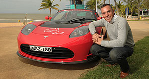 Tesla Roadster Man in charge: Tesla Motors Australia national sales and marketing manager Jay McCormack with the Roadster.