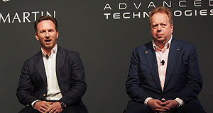 Aston Martin  Hyper reality: Red Bull Racing team principal Christian Horner (left) and Aston Martin CEO Andy Palmer at the announcement of a new co-developed hypercar in Melbourne.