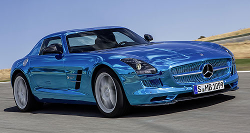 Mercedes-Benz 2014 SLS AMG Electric DriveElectric dream car: Not only is the SLS Electric Drive the most potent product in the  Mercedes-AMG portfolio, it is available in this stunning 'electricbeam magno' paint finish.