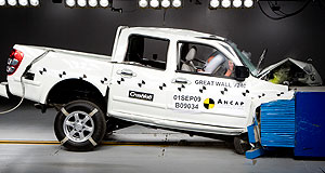 Great Wall V240 Hitting the Wall: Great Wall's V240 ute smashes into the offset barrier during frontal crash testing for ANCAP.