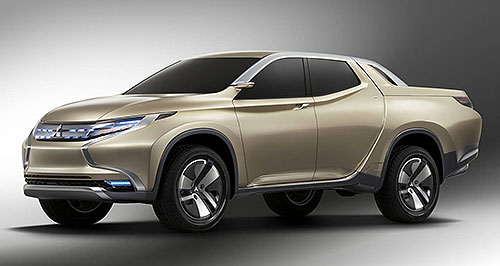 Mitsubishi 2014 Triton Greener side: The Mitsubishi GR-HEV evolves the current Triton's curvaceous styling, but underneath features a new diesel-electric drivetrain.