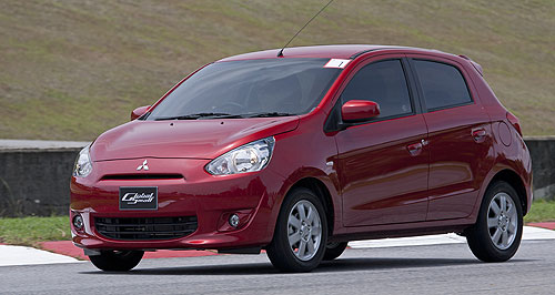 Mitsubishi 2013 Mirage Going so-low: Mitsubishi's Global Small program that spawned the Mirage ditches expensive technologies in favour of engineering fundamentals, but the company admits this poses a risk in mature markets.