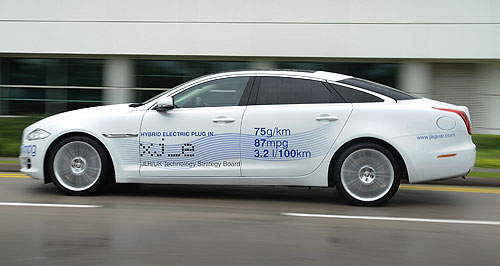 Jaguar 2014 XJ plug-in hybridGreen limousine: The petrol-electric Jaguar XJ_e concept is said to consume just 3.2 litres of fuel per 100km.