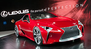 Lexus 2015 LF-LC Red devil: The sleek Lexus LF-LC concept hybrid coupe makes its public debut at the Detroit show.
