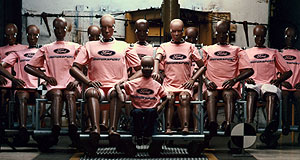 Ford  Strike a pose: Ford's 'family' of crash test dummies.