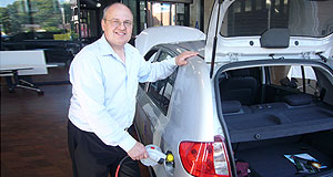 Blade  Zapped: Company founder Ross Blade with the Hyundai Getz-based Electron, which will be discontinued in 18 months time.