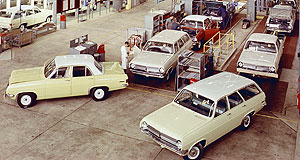 Holden  Memory line: Some of the first Holdens roll off the Holden Vehicle Operations assembly line in Elizabeth.