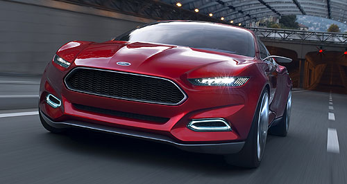 Ford 2013 Mondeo Blue Oval direction: Ford's next-generation sedans will feature more streamlined shapes, inspired by the swooping Evos four-door concept from Frankfurt.