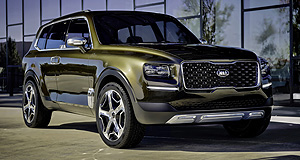 Kia 2017 Telluride Green giant: Kia's Telluride concept is dressed up in Dark Pyrite green and stands 119mm taller than the company's Sorento large SUV.