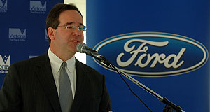 Ford  Shutdown: Falcon and Territory (below) production will cease today. Above: Ford Oz president Tom Gorman.