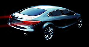 Kia 2013 Cerato Lighting it up: The angular tail-light design in this rendering of the new Cerato is clearly influenced by the larger Optima sedan.
