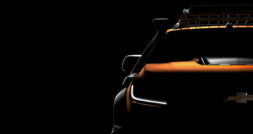 Holden 2016 Colorado Truck show: Chevrolet released this teaser shot of a show vehicle that might point to the facelifted Colorado and Colorado 7 due out later this year.