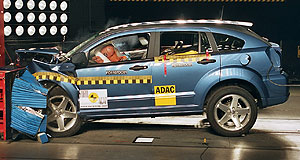 Dodge Caliber Bodyslam: Caliber (above) and BS6 (below) hit the NCAP crash barrier.